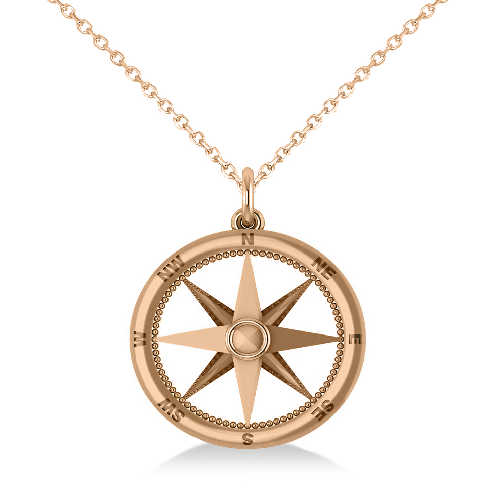 Nautical Compass Pendant Necklace Plain Metal 14k Rose Gold