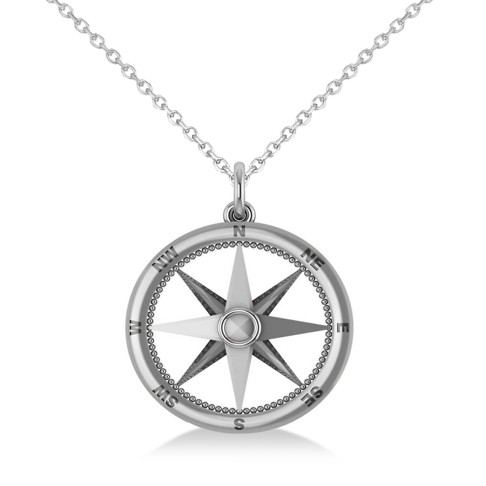 Nautical Compass Pendant Necklace Plain Metal 14k White Gold