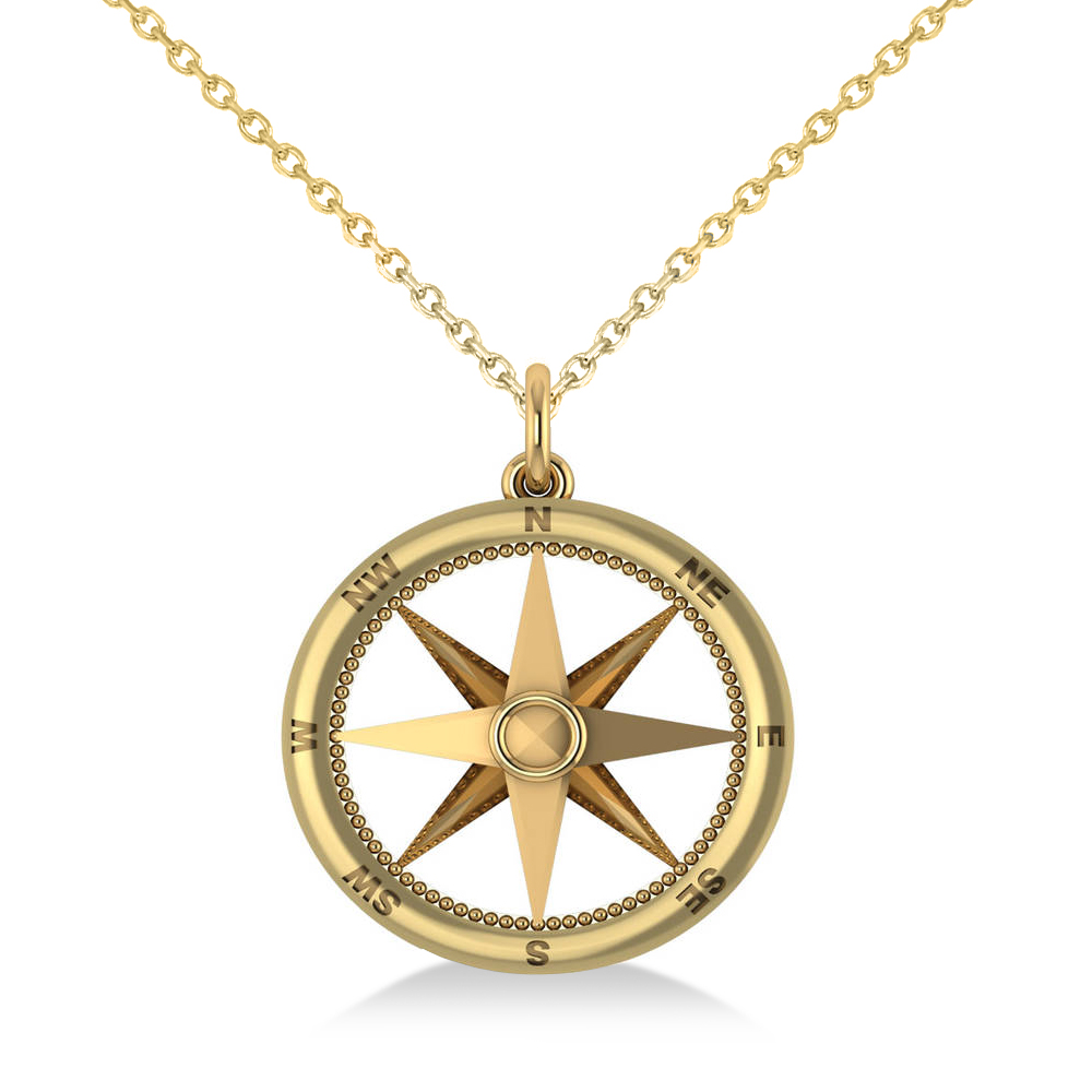 Nautical compass pendant necklace plain metal 14k yellow gold for Jh jewelry guarantee 2 years