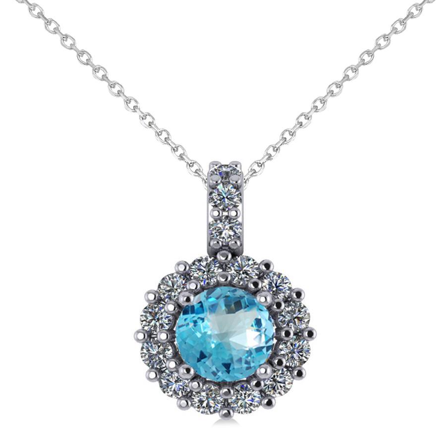 round blue topaz diamond halo pendant necklace 14k white. Black Bedroom Furniture Sets. Home Design Ideas