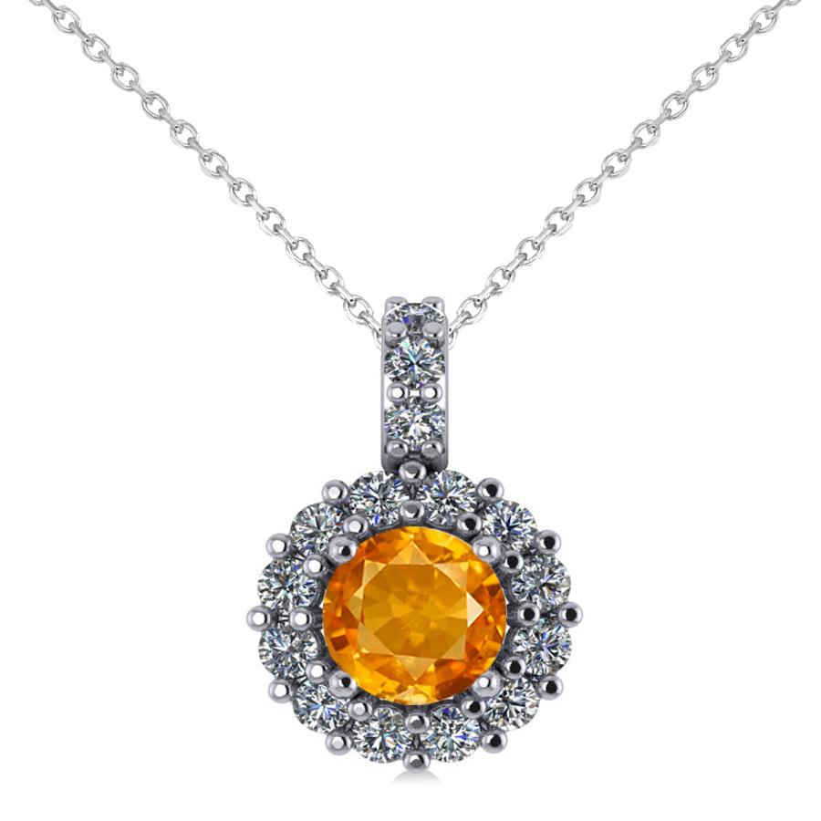 round citrine amp diamond halo pendant necklace 14k white