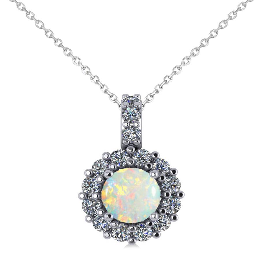 Round Opal & Diamond Halo Pendant Necklace 14k White Gold (0.64ct)