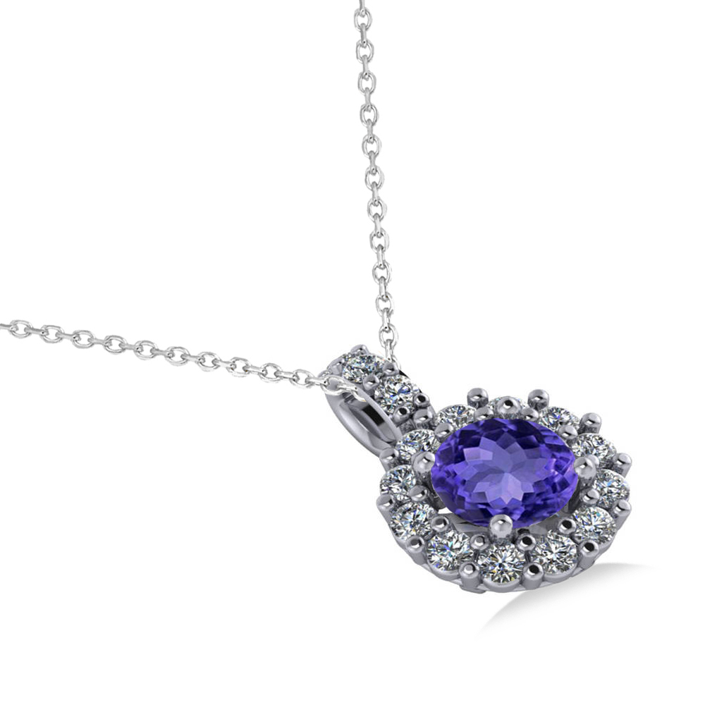 Tanzanite Necklace Tanzanite: Round Tanzanite & Diamond Halo Pendant Necklace 14k White