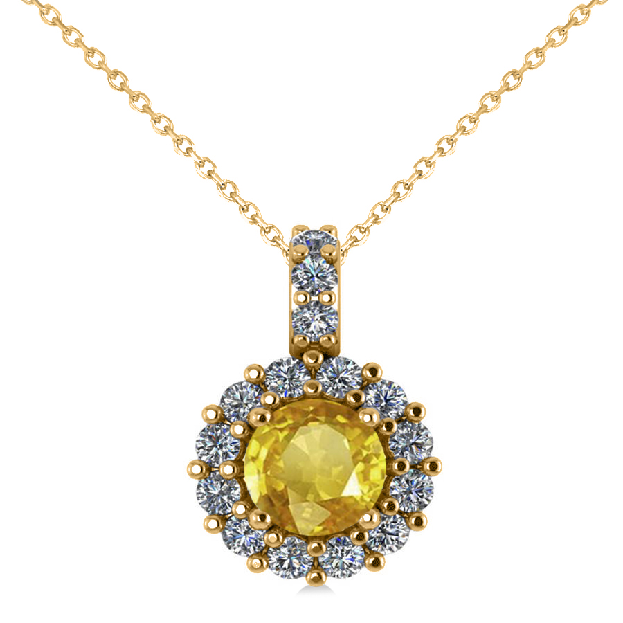 round yellow sapphire diamond halo pendant necklace 14k. Black Bedroom Furniture Sets. Home Design Ideas