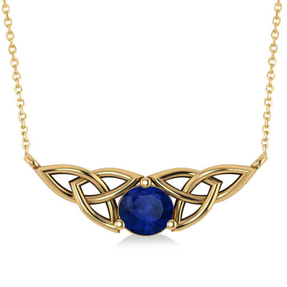 celtic round blue sapphire pendant necklace 14k yellow. Black Bedroom Furniture Sets. Home Design Ideas