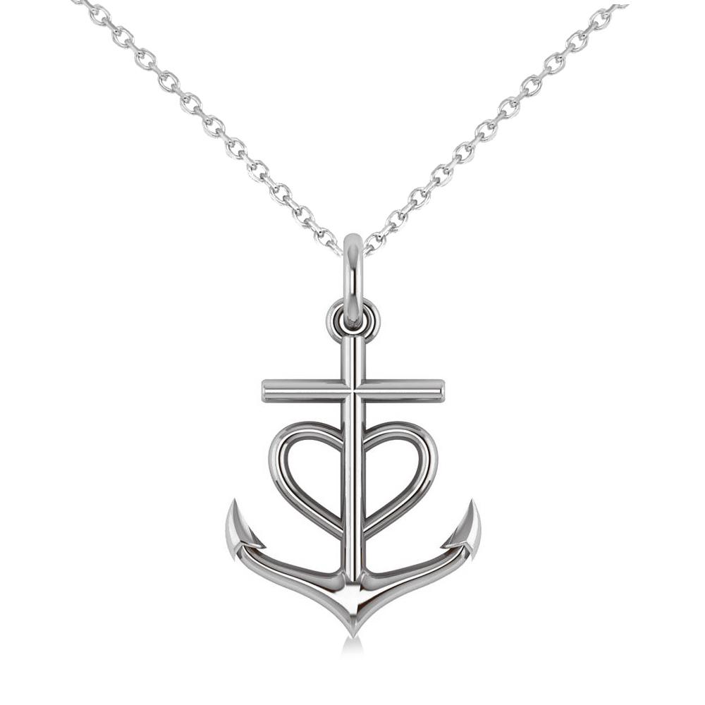 Anchor & Heart Pendant Necklace 14k White Gold