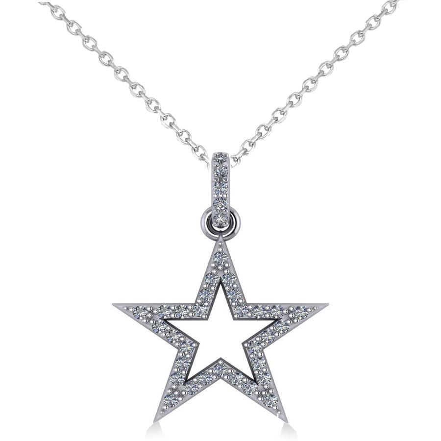 Star shaped diamond pendant necklace 14k white gold 036ct allurez star shaped diamond pendant necklace 14k white gold 036ct mozeypictures Choice Image
