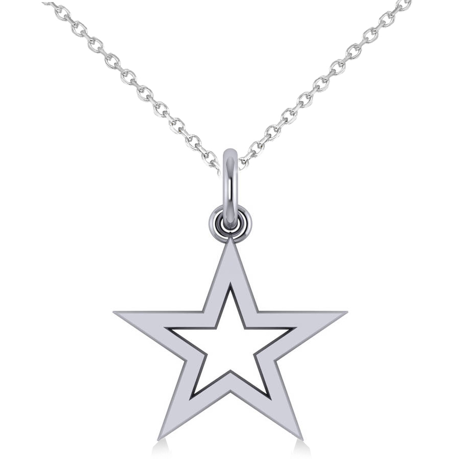 Star Shaped Pendant Necklace 14k White Gold
