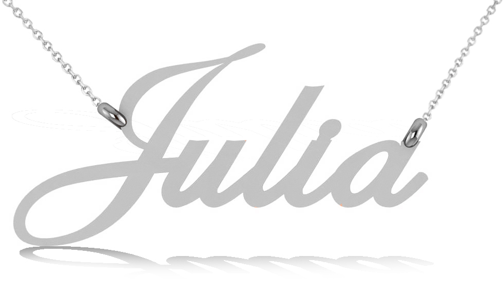 Personalized Script Font Nameplate Pendant Necklace Solid 14k White Gold