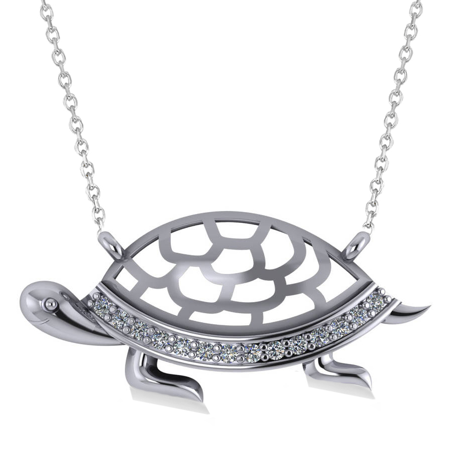 Turtle Diamond Accented Pendant Necklace 14k White Gold (0.14ct)