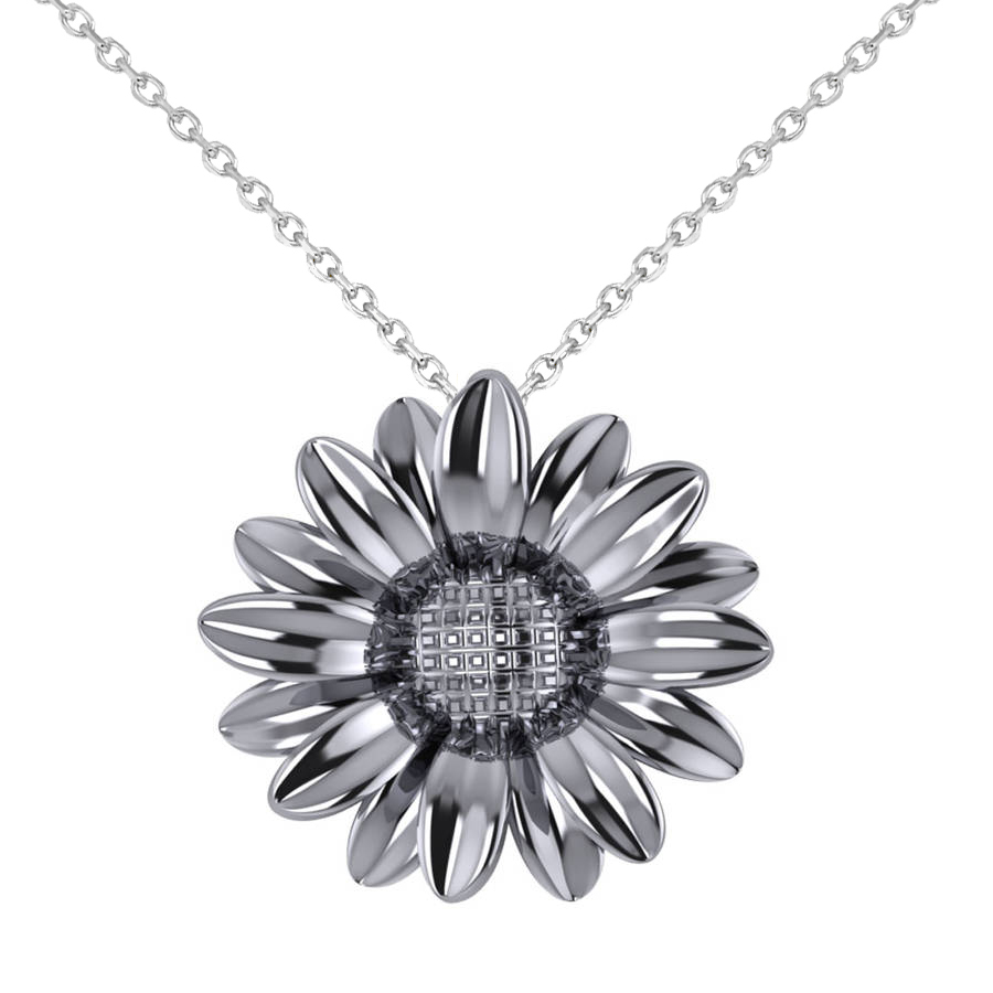 Multilayered Daisy Flower Pendant Necklace 14K White Gold