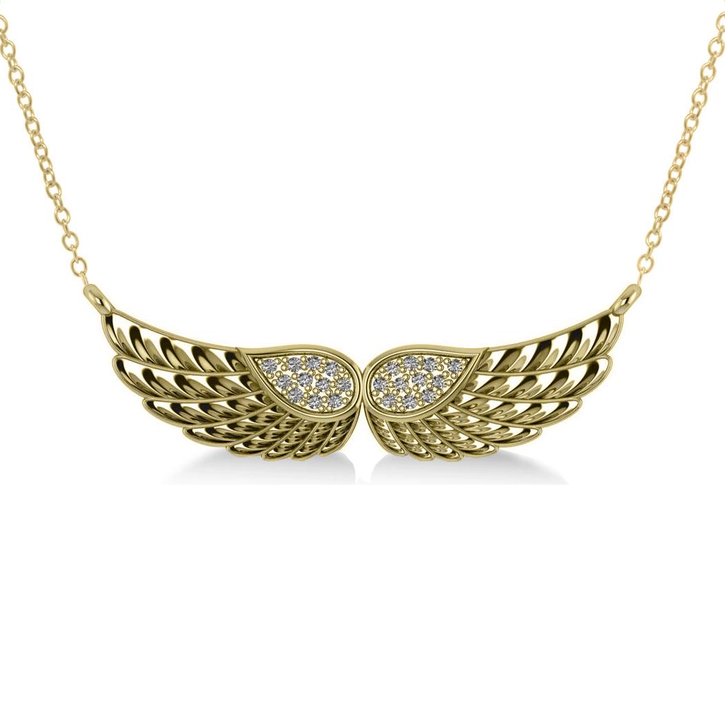 Diamond Angel Wings Pendant Necklace 14k Yellow Gold (0.11ct)