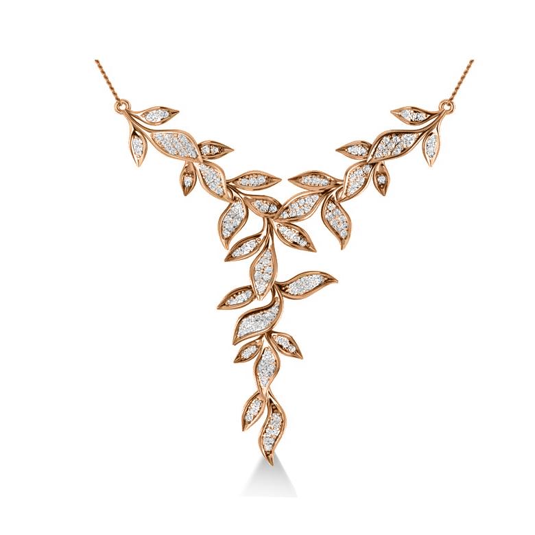 Diamond Vine Leaf Pendant Necklace 14k Rose Gold (0.60ct)
