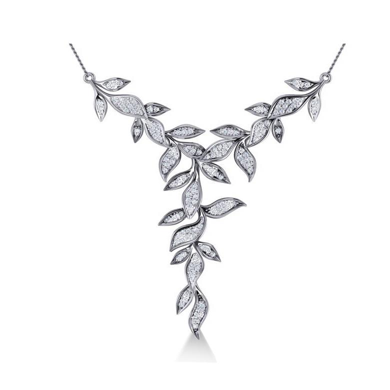 Diamond Vine Leaf Pendant Necklace 14k White Gold (0.60ct)