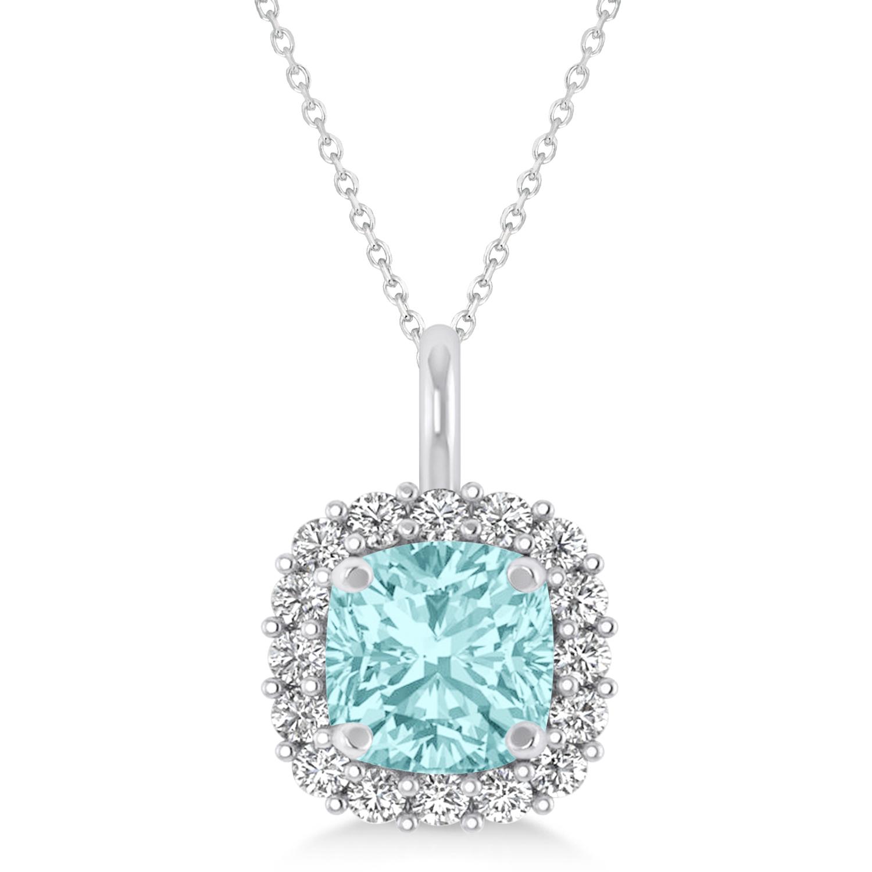 Cushion Cut Aquamarine & Diamond Halo Pendant 14k White Gold (0.92ct)