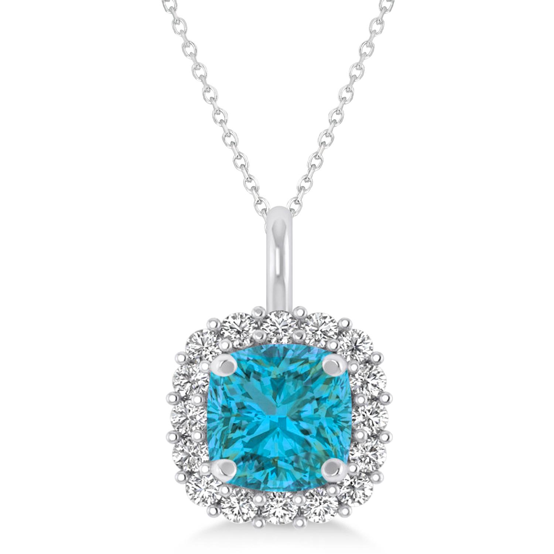 Cushion Cut Blue & White Diamond Halo Pendant 14k Blue Gold (0.78ct)