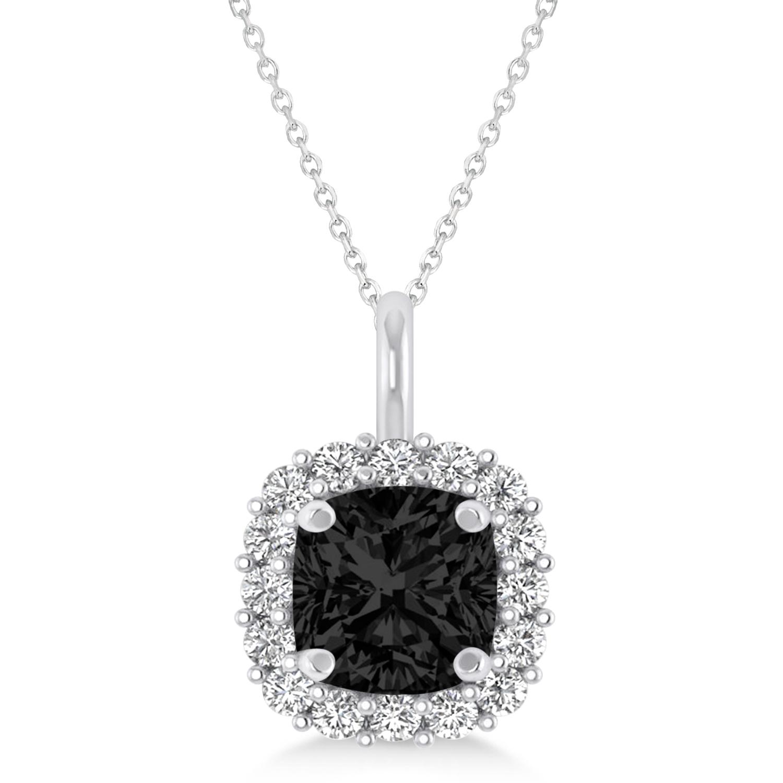 Cushion Cut Black & White Diamond Halo Pendant 14k White Gold (0.78ct)