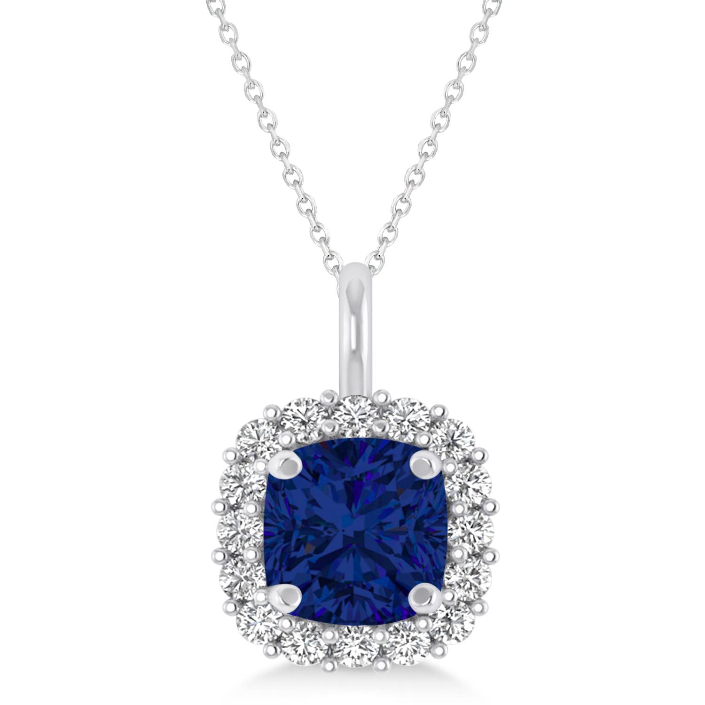 Cushion Cut Blue Sapphire & Diamond Halo Pendant 14k White Gold (0.92ct)