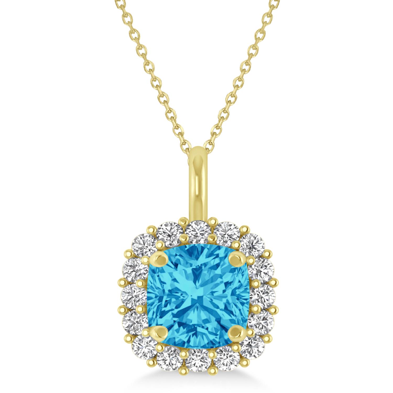 Cushion Cut Blue Topaz & Diamond Halo Pendant 14k Yellow Gold (0.92ct)