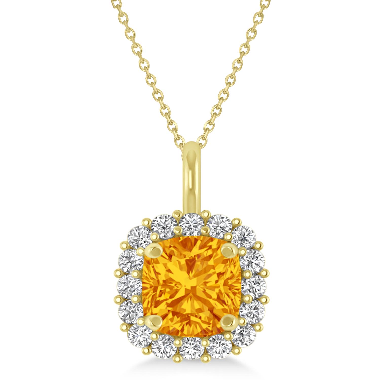 Cushion Cut Citrine & Diamond Halo Pendant 14k Yellow Gold (0.92ct)