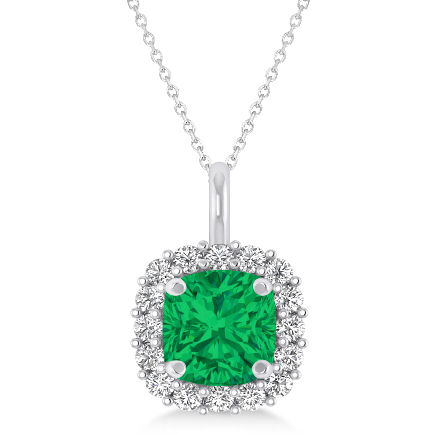 Cushion Cut Emerald & Diamond Halo Pendant 14k White Gold (0.92ct)