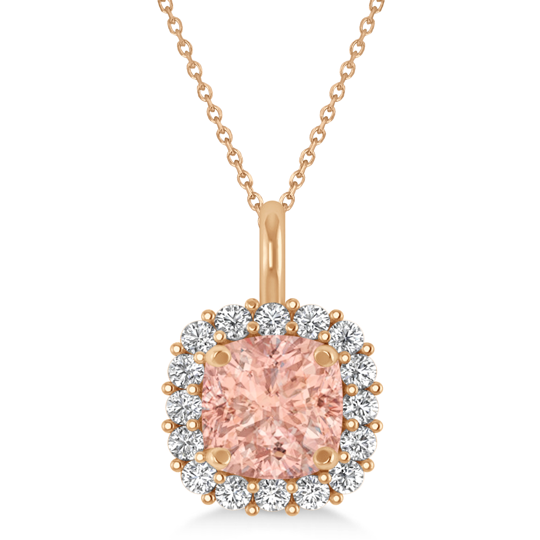 Cushion Cut Morganite & Diamond Halo Pendant 14k Rose Gold (0.92ct)