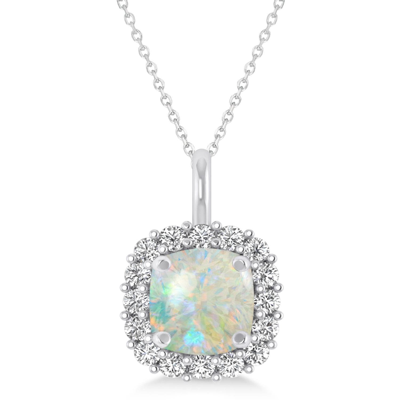 Cushion Cut Opal & Diamond Halo Pendant 14k White Gold (0.92ct)