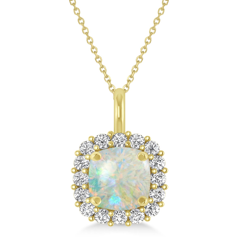 Cushion Cut Opal & Diamond Halo Pendant 14k Yellow Gold (0.92ct)
