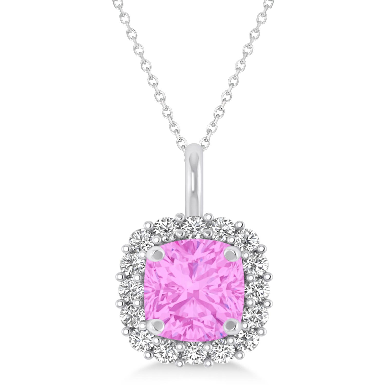 Cushion Cut Pink Sapphire & Diamond Halo Pendant 14k White Gold (0.92ct)