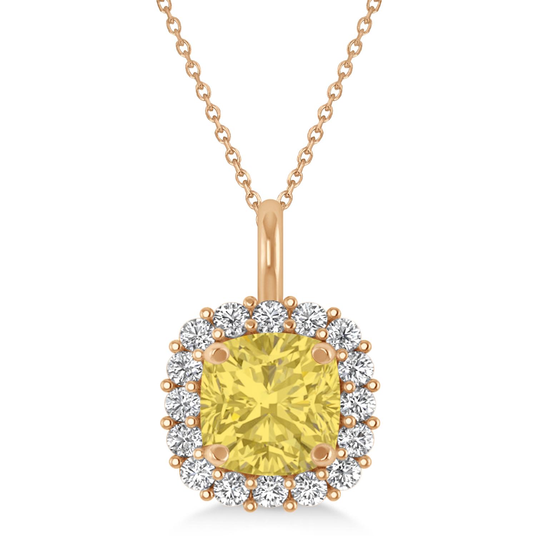 Cushion Cut Yellow & White Diamond Halo Pendant 14k Rose Gold (0.78ct)