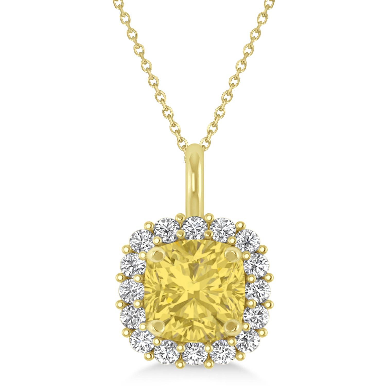 Cushion Cut Yellow & White Diamond Halo Pendant 14k Yellow Gold (0.78ct)