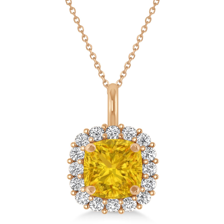 Cushion Cut Yellow Sapphire & Diamond Halo Pendant 14k Rose Gold (0.92ct)
