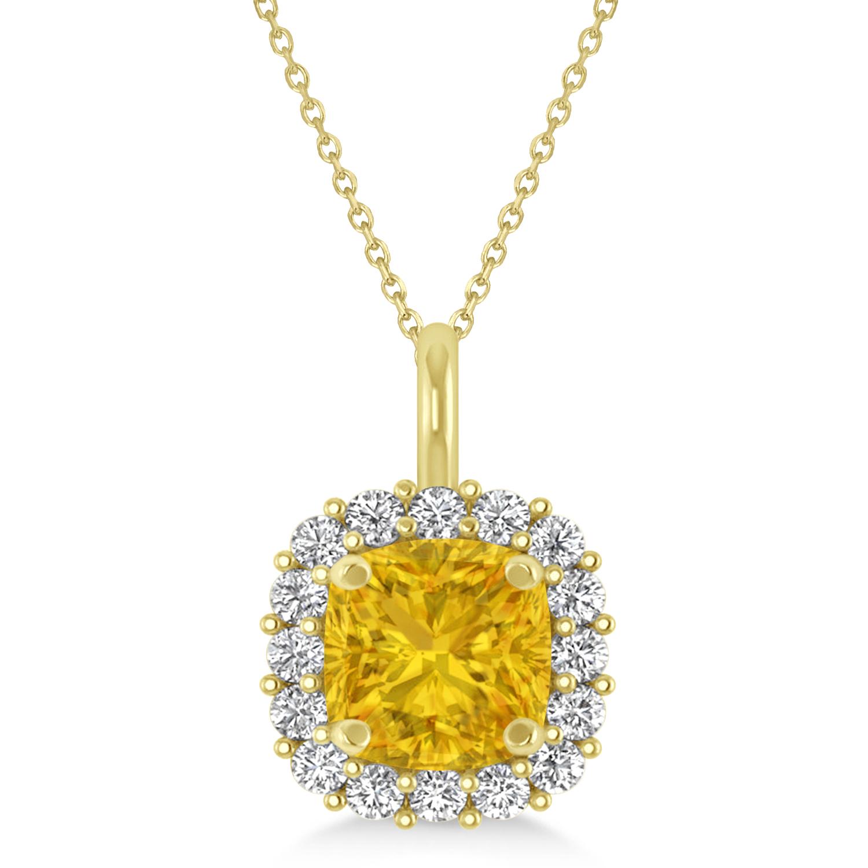 Cushion Cut Yellow Sapphire & Diamond Halo Pendant 14k Yellow Gold (0.92ct)