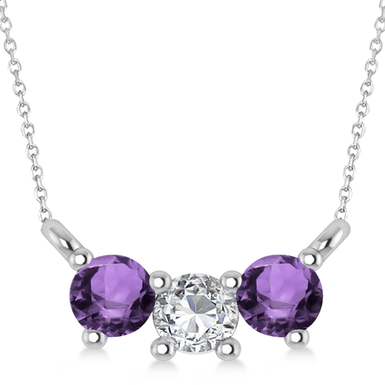Three Stone Diamond & Amethyst Pendant Necklace 14k White Gold (0.45ct)