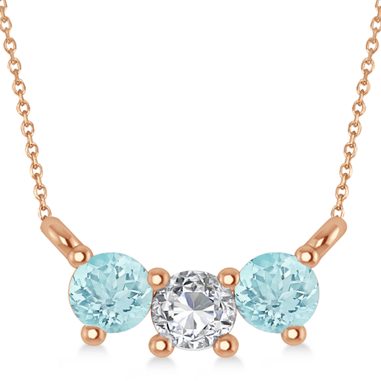 Three Stone Diamond & Aquamarine Pendant Necklace 14k Rose Gold (0.45ct)
