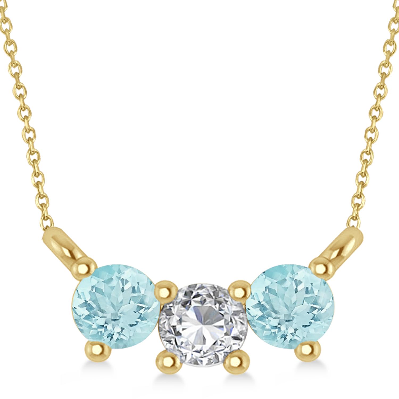 Three Stone Diamond & Aquamarine Pendant Necklace 14k Yellow Gold (0.45ct)