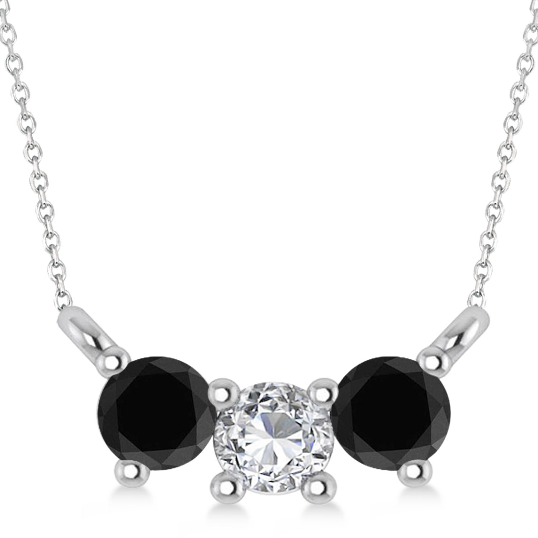 Three Stone Diamond & Black Diamond Pendant Necklace 14k White Gold (0.45ct)