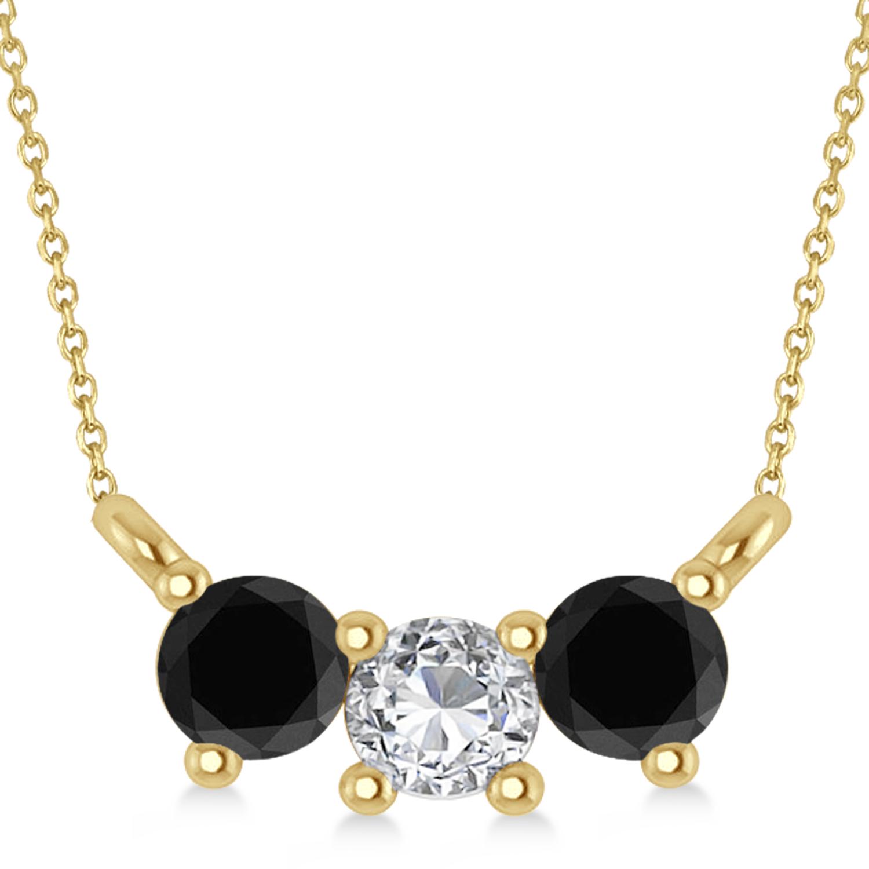 Three Stone Diamond & Black Diamond Pendant Necklace 14k Yellow Gold (0.45ct)