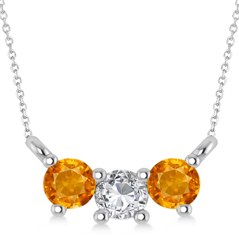 Three Stone Diamond & Citrine Pendant Necklace 14k White Gold (0.45ct)