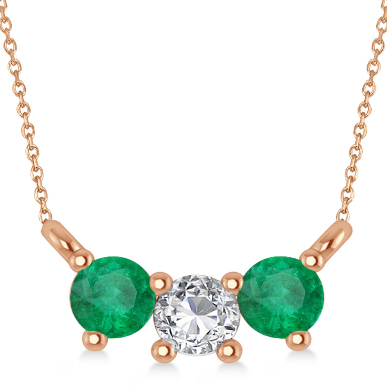 Three Stone Diamond & Emerald Pendant Necklace 14k Rose Gold (0.45ct)