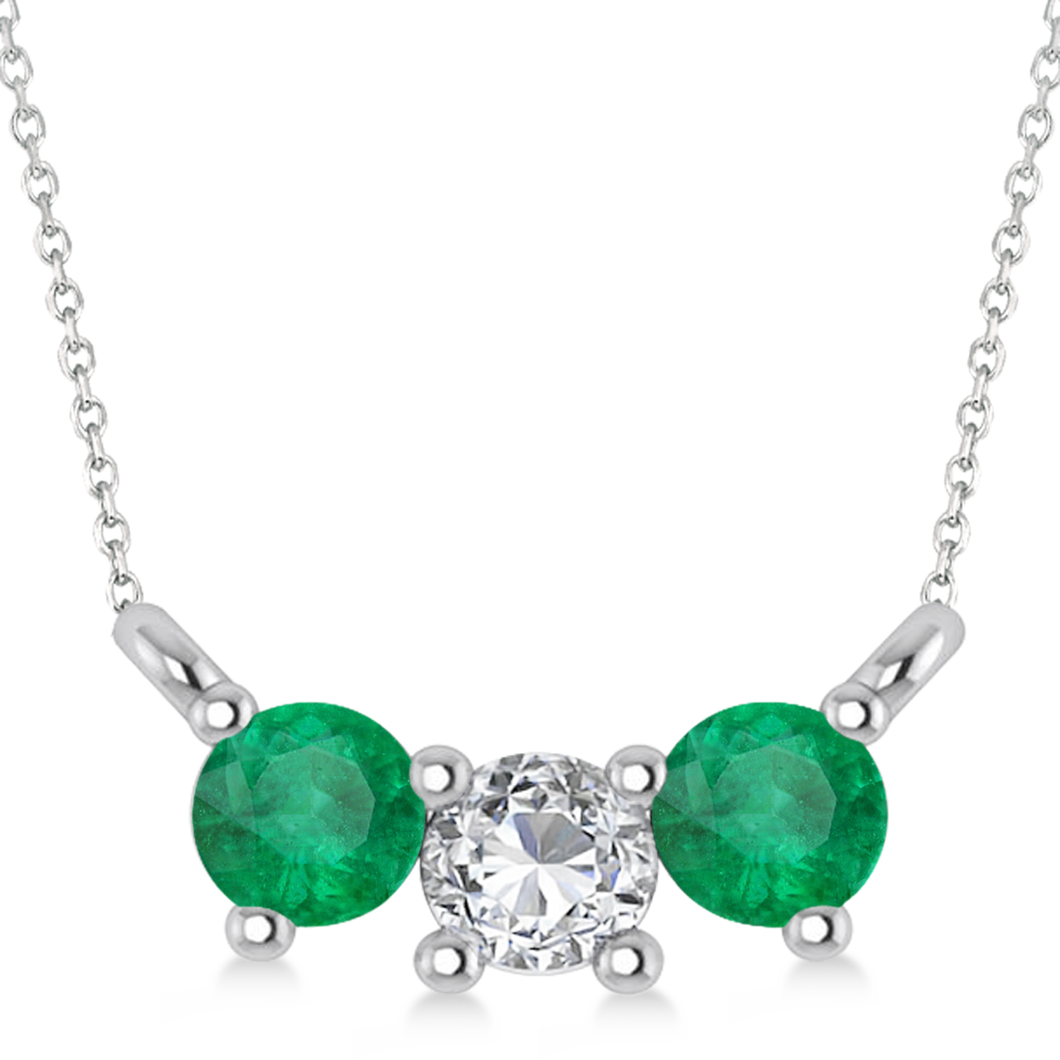 Three Stone Diamond & Emerald Pendant Necklace 14k White Gold (0.45ct)