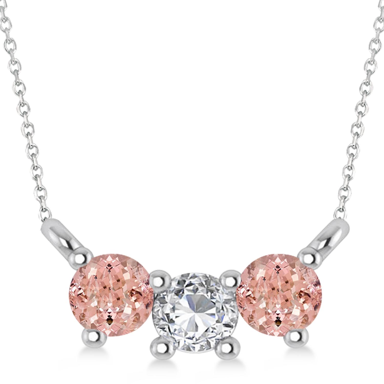 Three Stone Diamond & Morganite Pendant Necklace 14k White Gold (0.45ct)