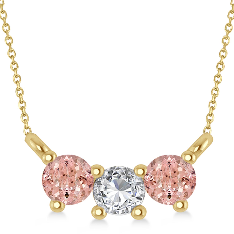 Three Stone Diamond & Morganite Pendant Necklace 14k Yellow Gold (0.45ct)