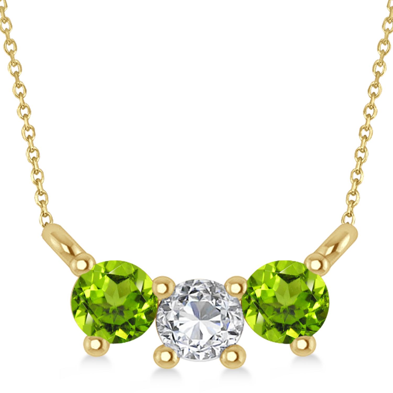 Three Stone Diamond & Peridot Pendant Necklace 14k Yellow Gold (0.45ct)