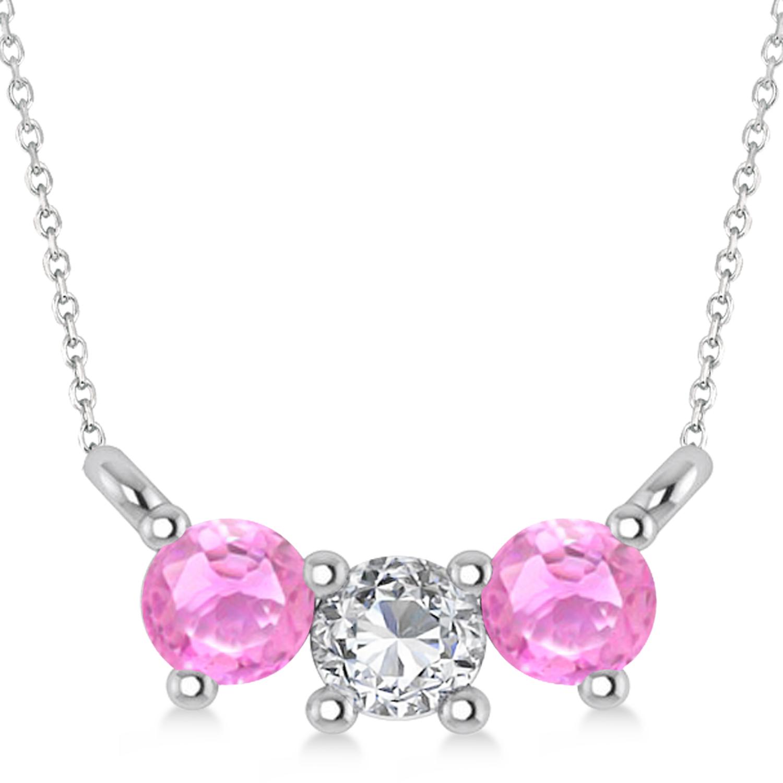 Three Stone Diamond & Pink Sapphire Pendant Necklace 14k White Gold (0.45ct)