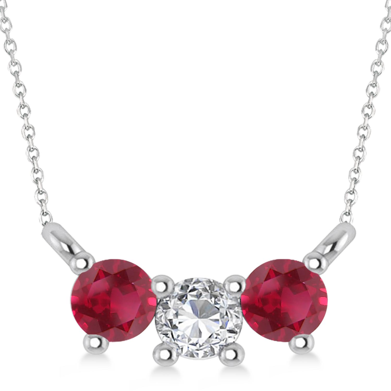 Three Stone Diamond & Ruby Pendant Necklace 14k White Gold (0.45ct)