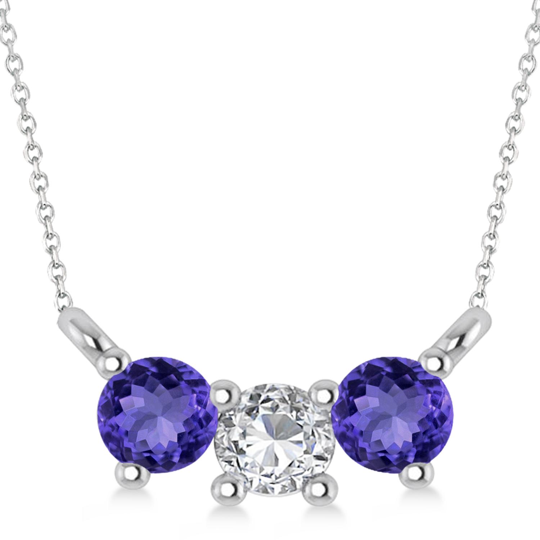 Three Stone Diamond & Tanzanite Pendant Necklace 14k White Gold (0.45ct)