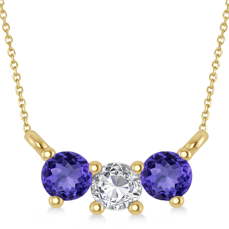 Three Stone Diamond & Tanzanite Pendant Necklace 14k Yellow Gold (0.45ct)