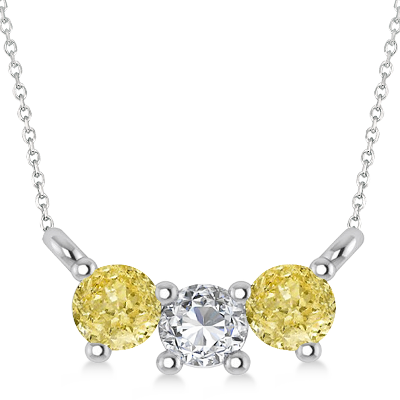 Three Stone Diamond & Yellow Diamond Pendant Necklace 14k White Gold (0.45ct)