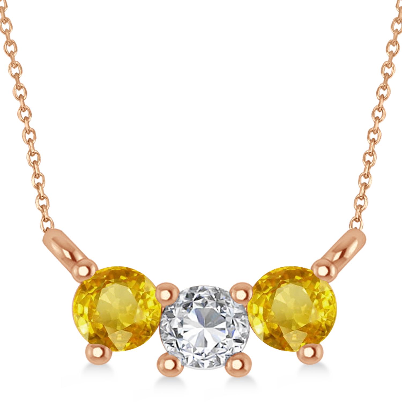 Three Stone Diamond & Yellow Sapphire Pendant Necklace 14k Rose Gold (0.45ct)